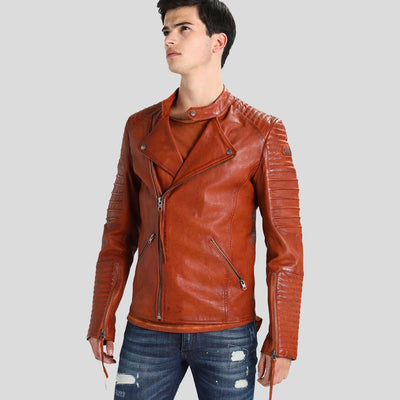 motorcycle leather jacket brown mateo 4