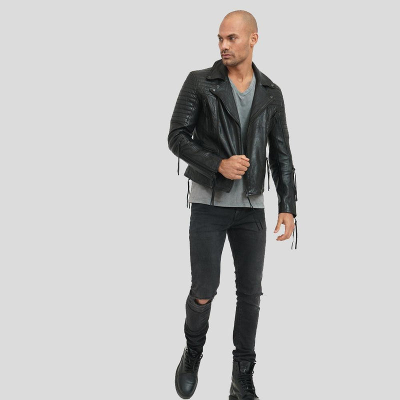 motorcycle leather jacket calvin black 1