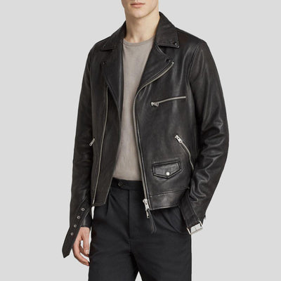 motorcycle leather jacket kai black 1