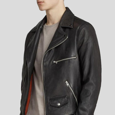 motorcycle leather jacket kai black 2
