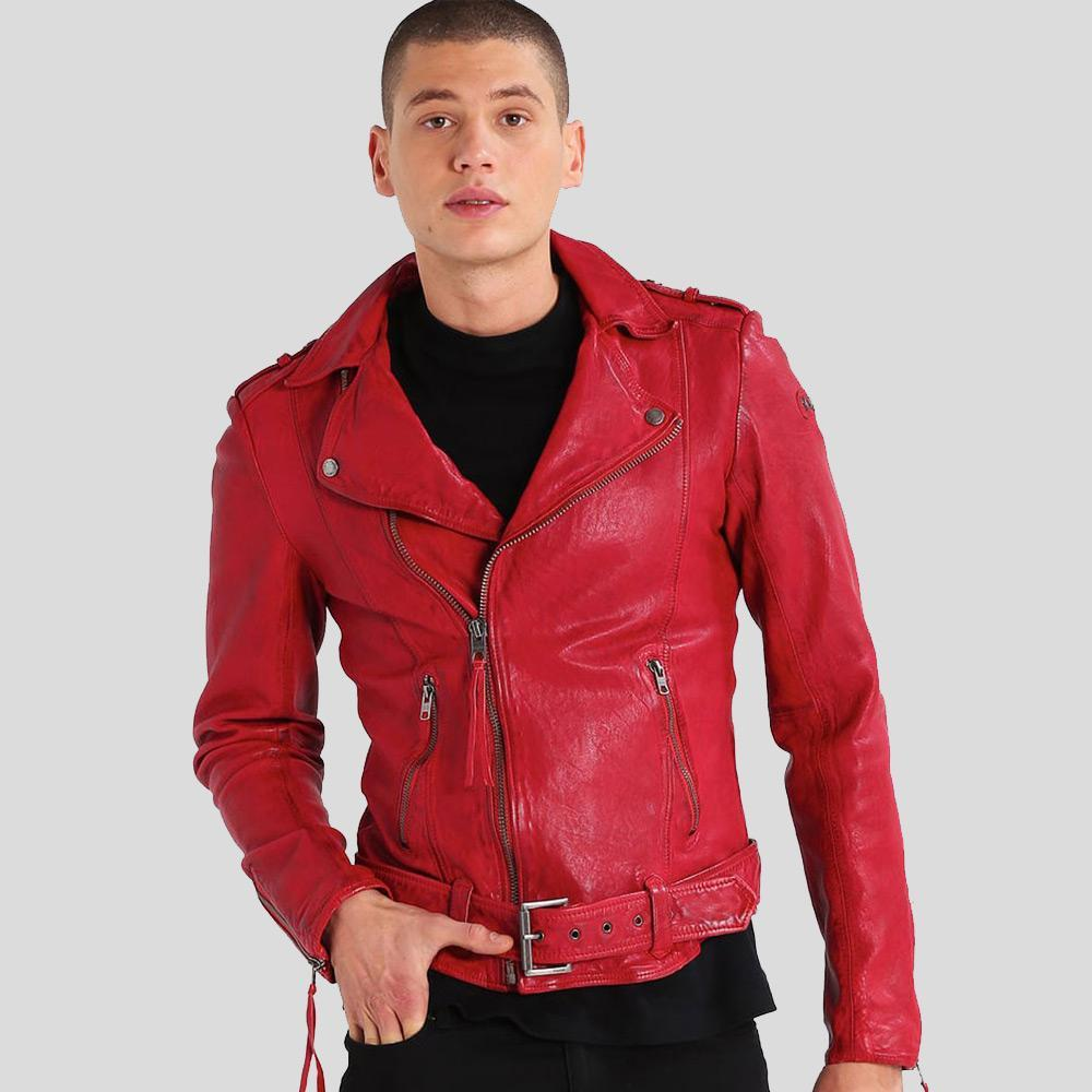 motorcycle leather jacket mens dawson red 1