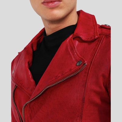 motorcycle leather jacket mens dawson red 2