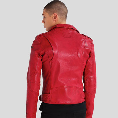 motorcycle leather jacket mens dawson red 4