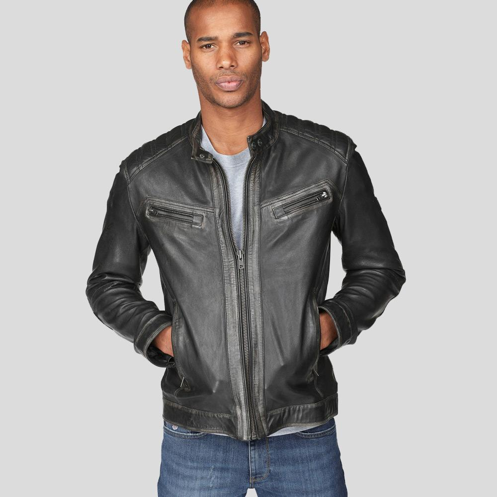 motorcycle leather jacket timothy black 1