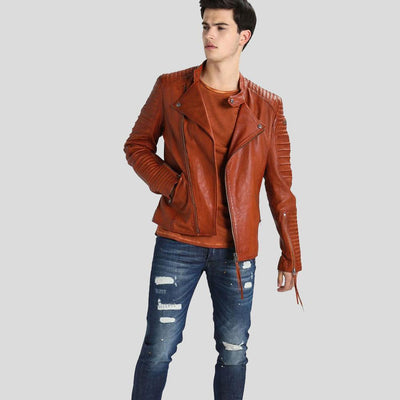 motorcycle leather jacket brown mateo 2