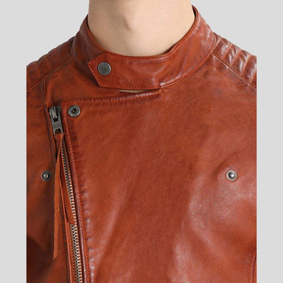 motorcycle leather jacket brown mateo 3