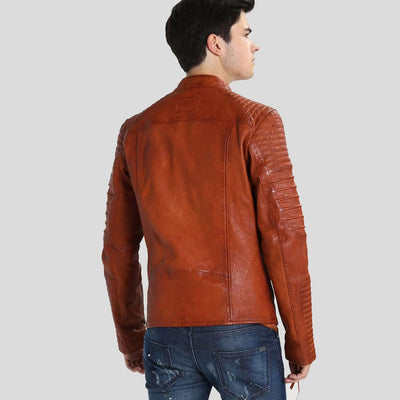 motorcycle leather jacket brown mateo 5