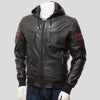 Simon Black Leather Jacket With Hood