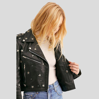 Autumn Black Studded Leather Jacket 1
