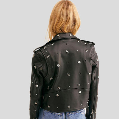 Autumn Black Studded Leather Jacket 3