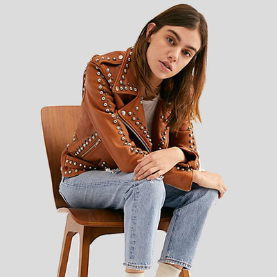 Piper Tan Studded Leather Jacket 3