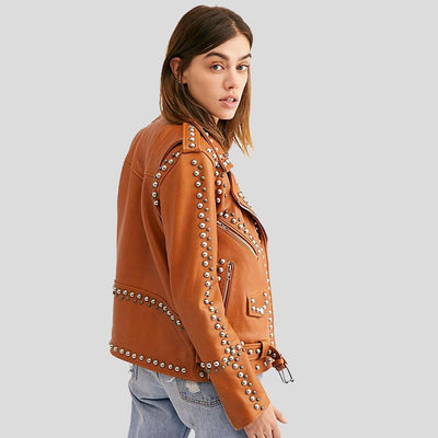 Piper Tan Studded Leather Jacket 4
