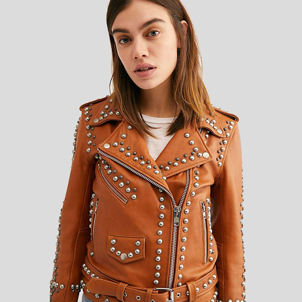 Piper Tan Studded Leather Jacket 1