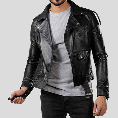 vintage motorcycle leather jacket brady black 1