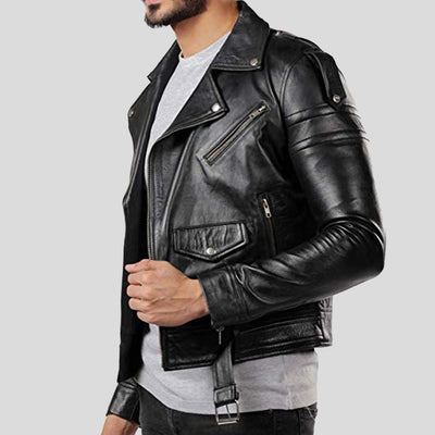 vintage motorcycle leather jacket brady black 2