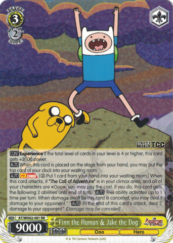AT/WX02-001 Finn the Human & Jake the Dog - Adventure Time English Weiss Schwarz Trading Card Game