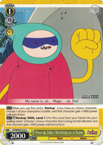 AT/WX02-013 Finn & Jake: Working as a Team - Adventure Time English Weiss Schwarz Trading Card Game