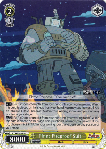 AT/WX02-023 Finn: Fireproof Suit - Adventure Time English Weiss Schwarz Trading Card Game