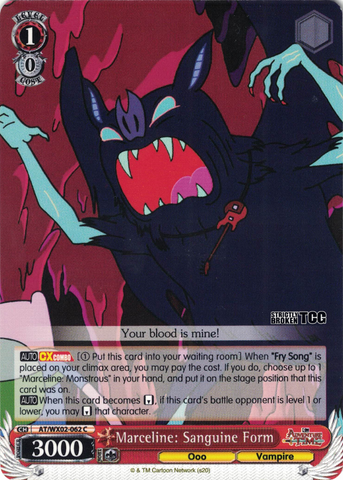 AT/WX02-062 Marceline: Sanguine Form - Adventure Time English Weiss Schwarz Trading Card Game
