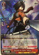 "AOT/S35-E058 ""Beyond the Walls"" Mikasa - Attack On Titan Vol.1 English Weiss Schwarz Trading Card Game"