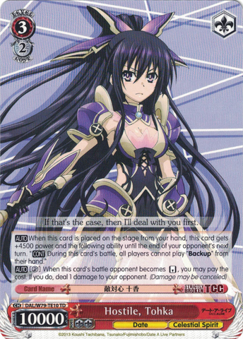 DAL/W79-TE10 Hostile, Tohka - Date A Live Trial Deck English Weiss Schwarz Trading Card Game