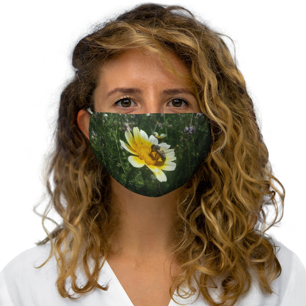 Bee on Flower Fabric Face Mask