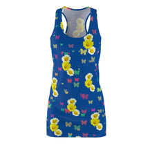 Load image into Gallery viewer, Flowers and Butterflies Dress (In Darker Blue)