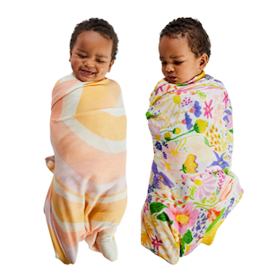 Kip and Co - Ripple & Meadow White Bamboo Baby Swaddle Set