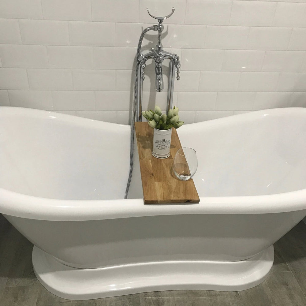 Indi Tribe Collective - Hardwood Bath Caddy with Wine Glass Holder