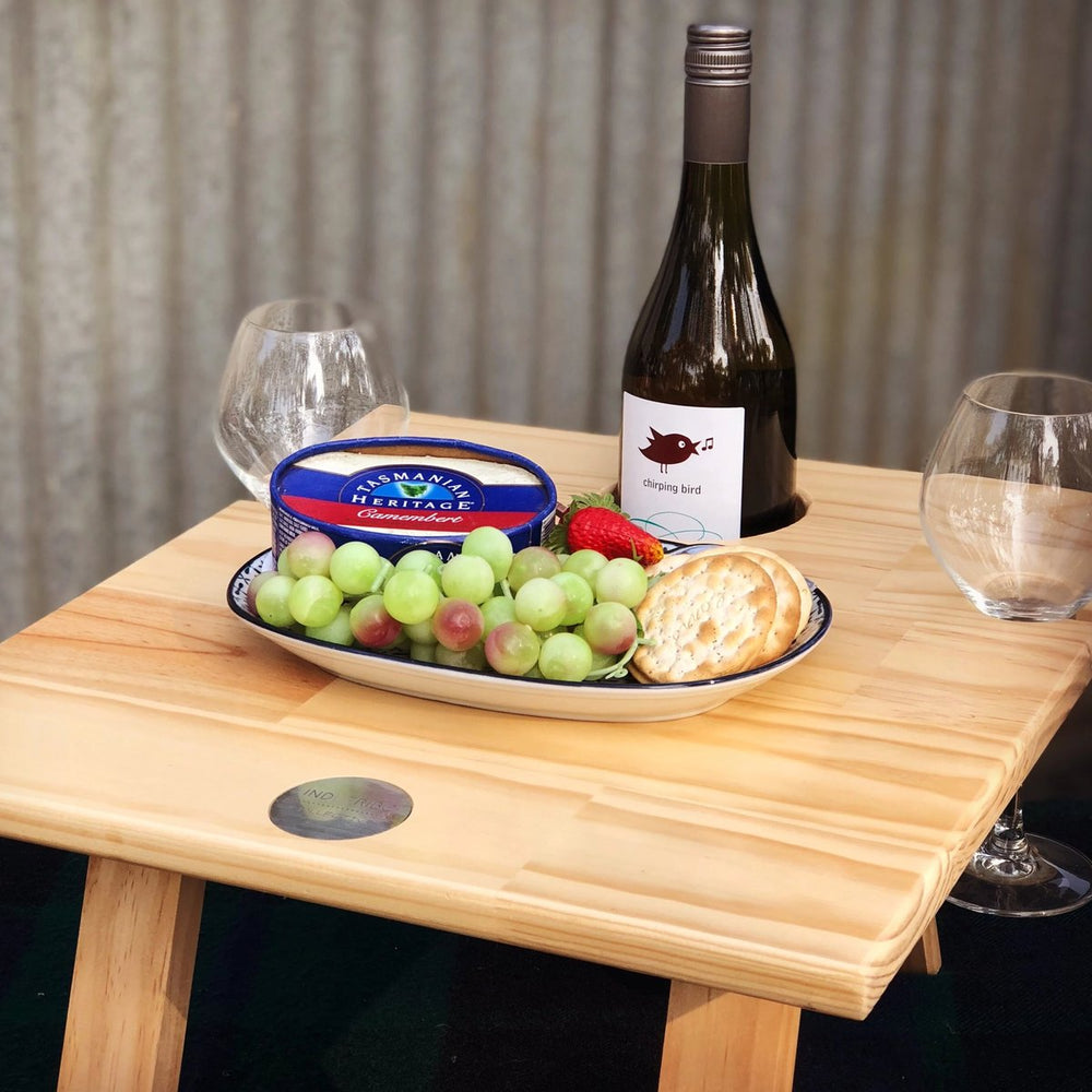 Indi Tribe Collective - Folding Wine Table - 2 Glass Pine Honeymoon