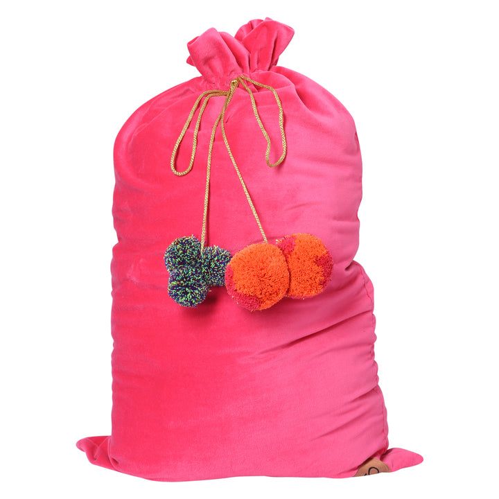 Kip and Co - Neon Pink Velvet Santa Sack