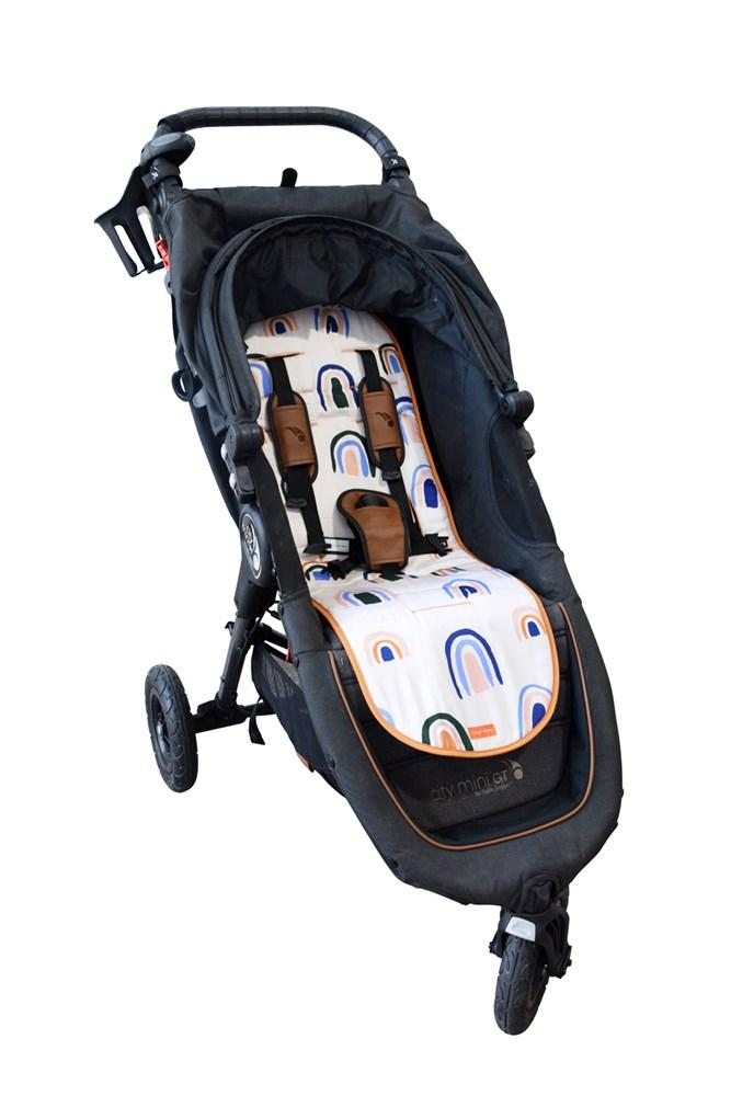 The Somewhere Co - Luxe Pram Liner Ochre Rainbows