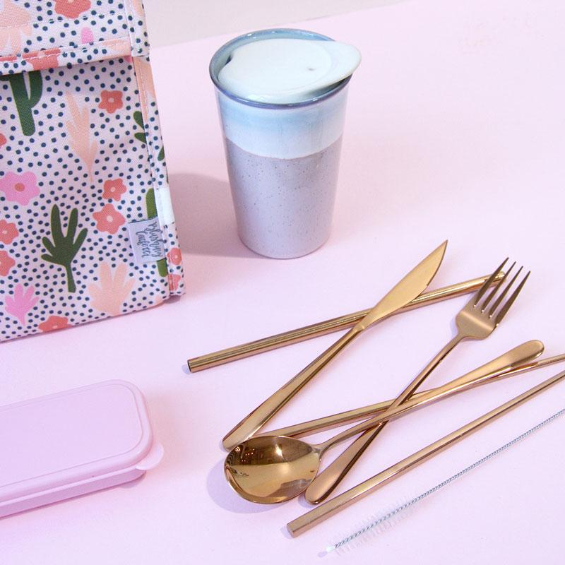 The Somewhere Co - Take Me Away Cutlery Kit - Rose Gold