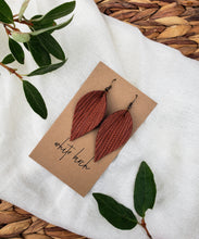 Load image into Gallery viewer, Cinnamon Textured Leather Leaf Earrings