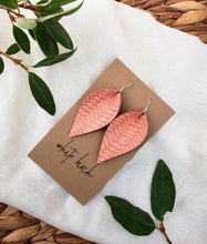 Load image into Gallery viewer, Peach Braided Leather Leaf Earrings