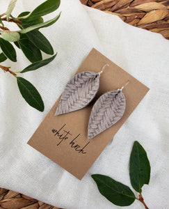 Stone Grey Braided Pinched Leather Leaf Earrings