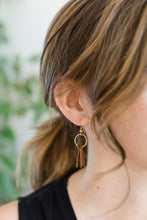 Load image into Gallery viewer, Mini Cream Tassel Earrings with Brass Hooks and Circle