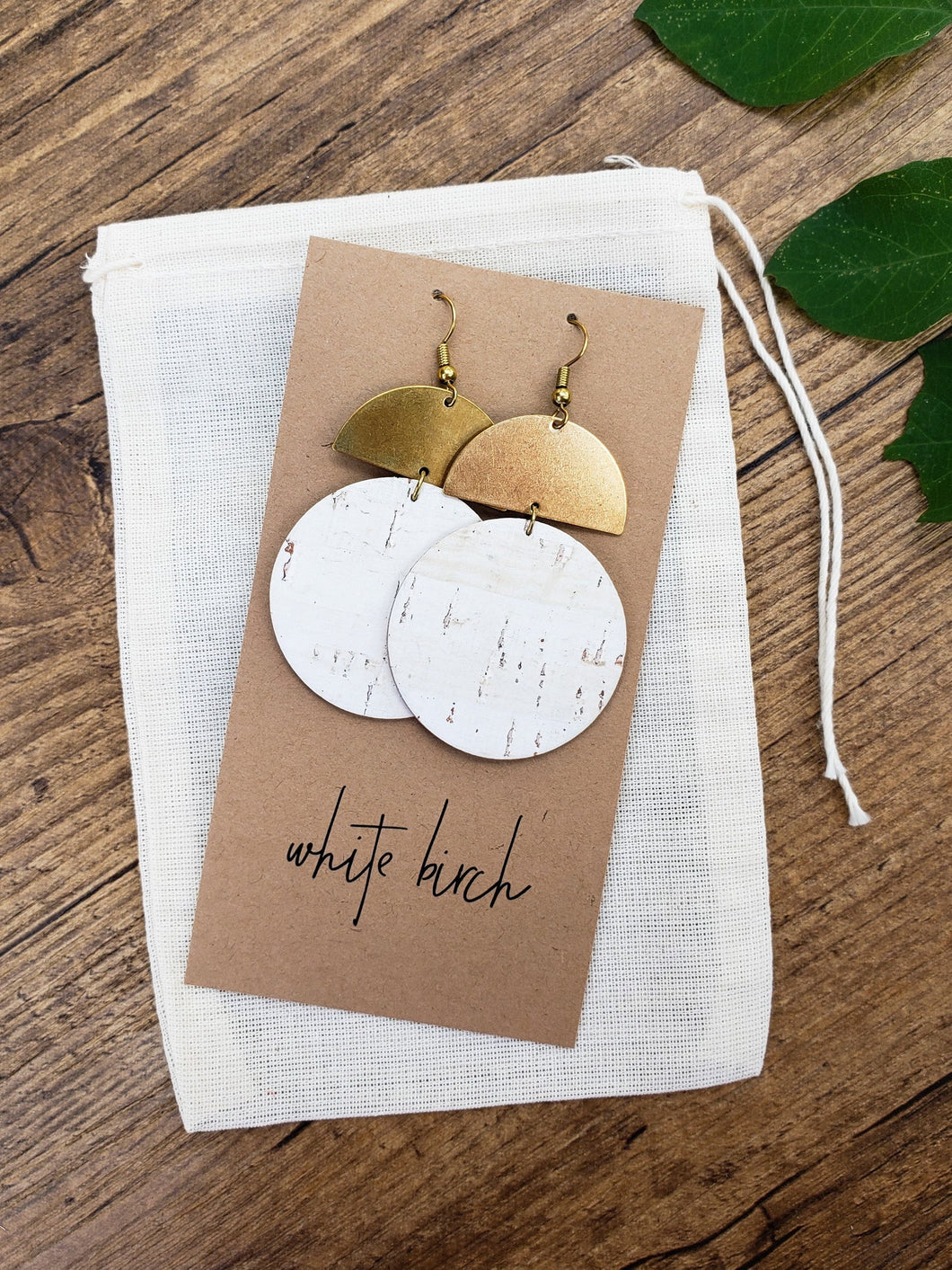 White Cork Leather Disc & Brass Half Moon Stacked Dangle Earrings