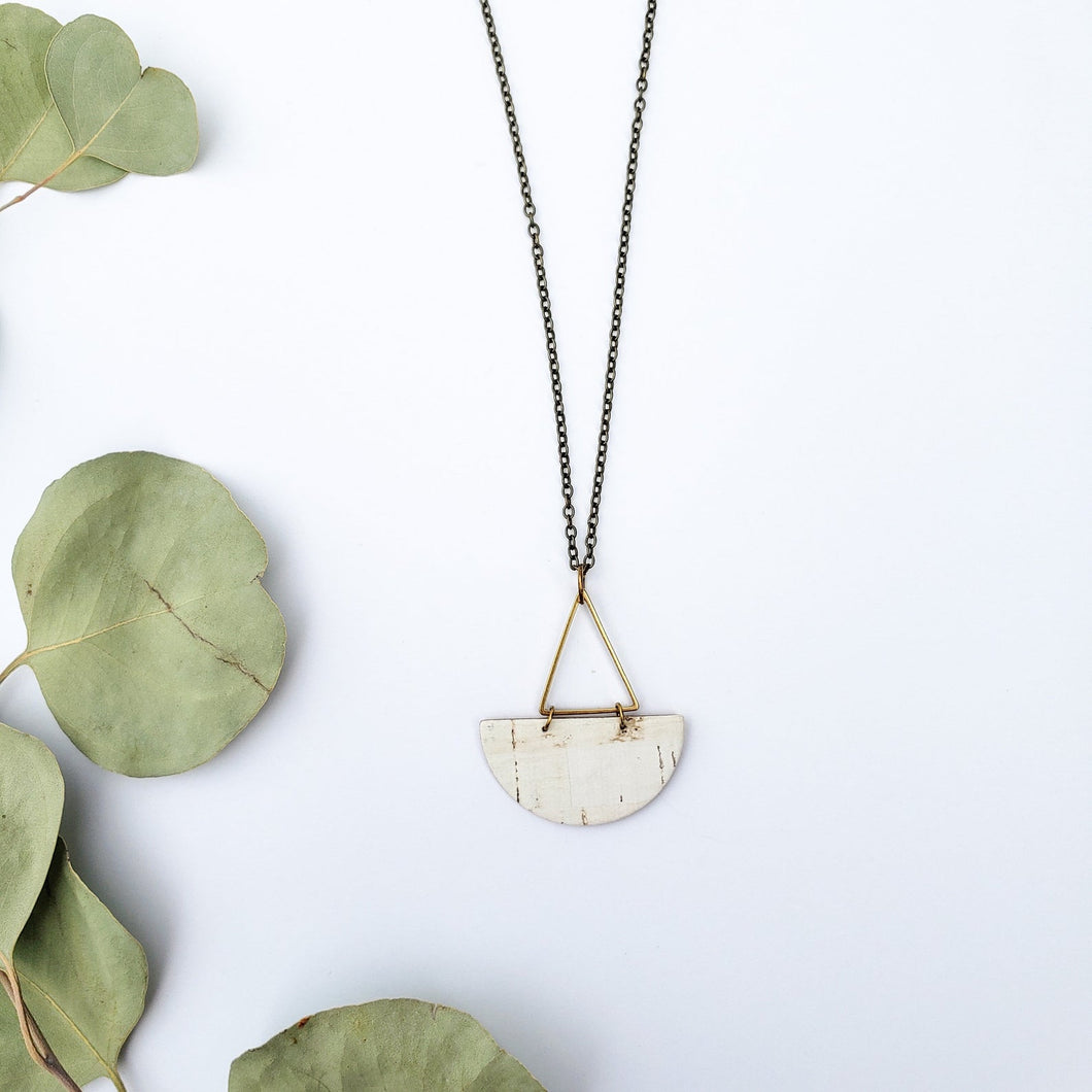 Geometric Brass Triangle Half Moon White Cork Leather Necklace