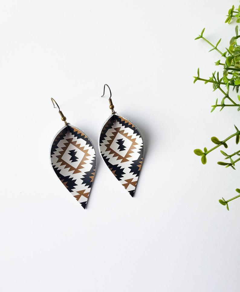Aztec Print Leather Leaf Earrings