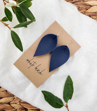 Load image into Gallery viewer, Navy Blue Leather Leaf Earrings