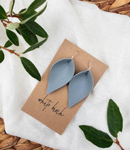 Load image into Gallery viewer, Light Grey Leather Leaf Earrings