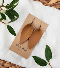 Load image into Gallery viewer, London Tan Leather Leaf Earrings