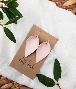 Nude Pink Leather Leaf Earrings