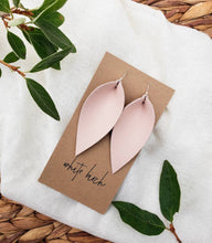 Load image into Gallery viewer, Nude Pink Leather Leaf Earrings