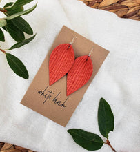 Load image into Gallery viewer, Melon Textured Leather Leaf Earrings