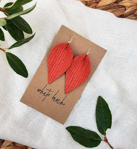 Melon Textured Leather Leaf Earrings