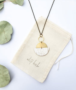 Geometric Brass Half Moon White Birch Cork Leather Necklace