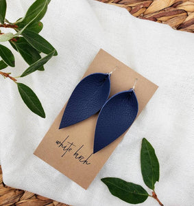Navy Blue Leather Leaf Earrings