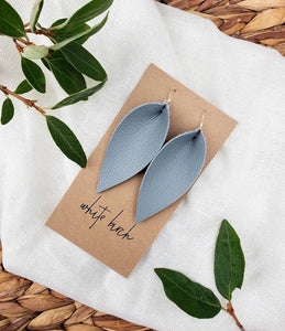 Light Grey Leather Leaf Earrings